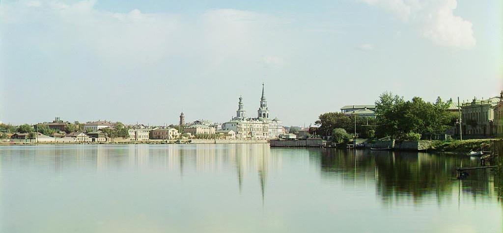 Панорама на Городской пруд с Екатерининским собором. Фото 1909 года