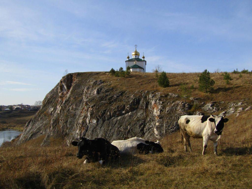 Пейзаж с Казанским храмом в Арамашево