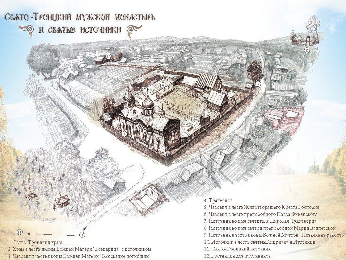 Схема монастыря и окрестностей