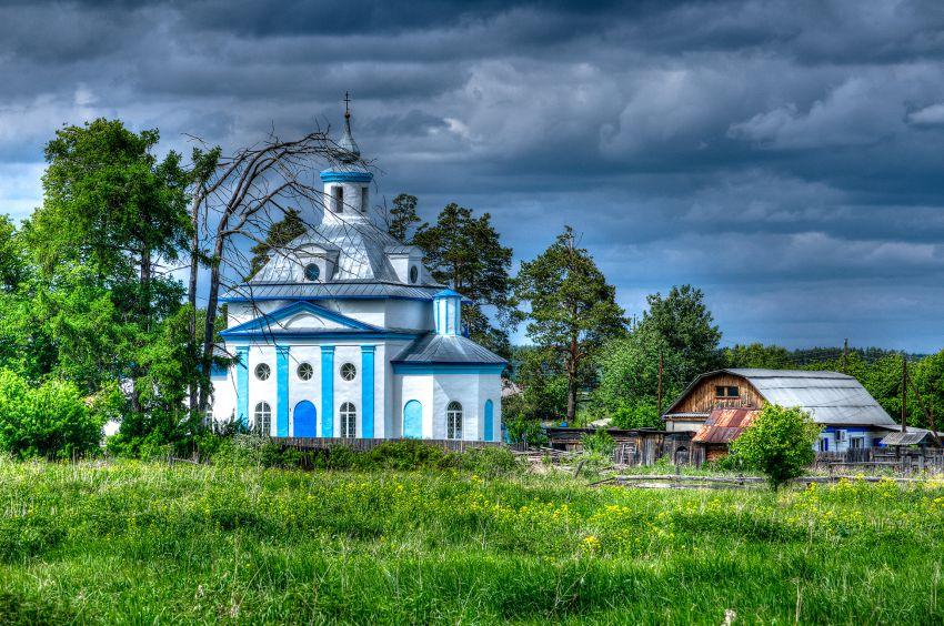 Сельский пейзаж с храмом Владимирской иконы Божией Матери