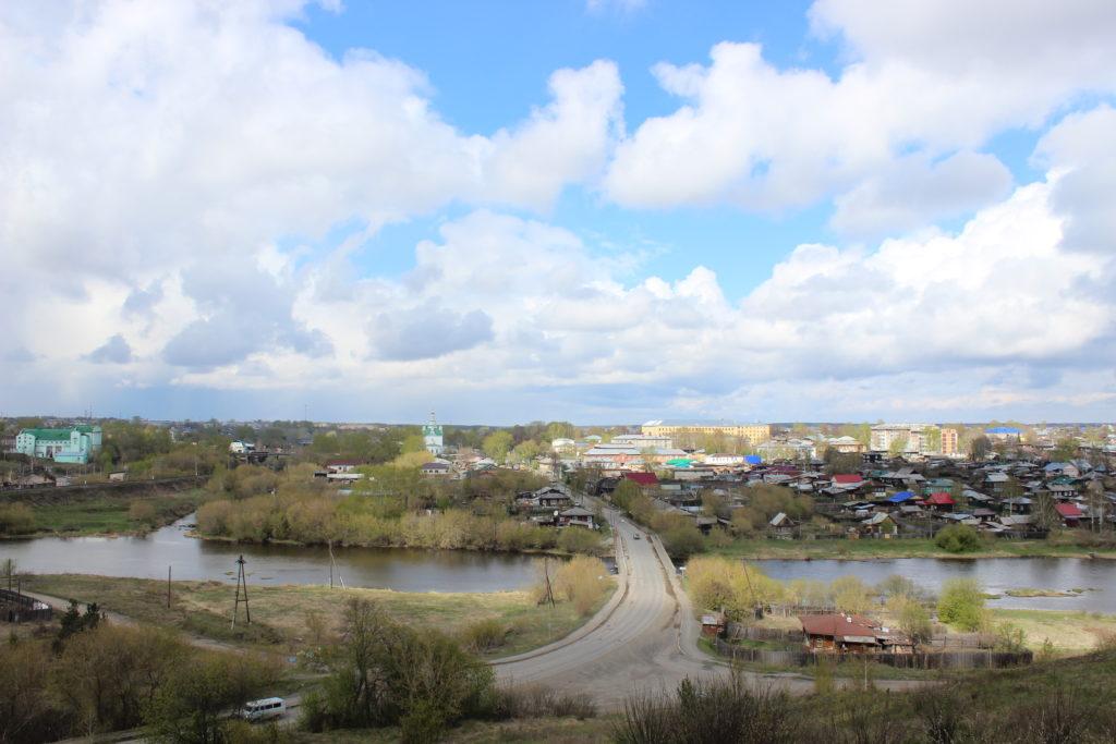 Вид на исторический центр Алапаевска с горы Ялунихи