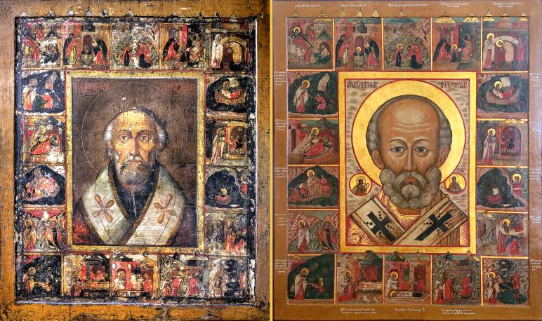 Чудотворный Утятский образ Николая Чудотворца до и после реставрации