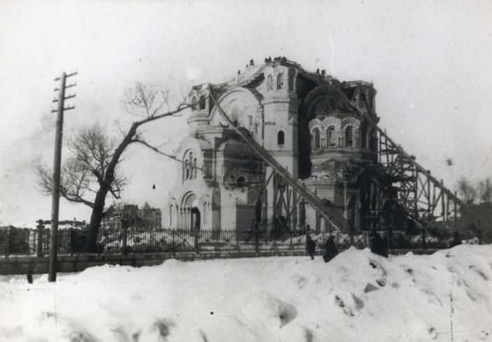Собор после первого взрыва в 1932 году