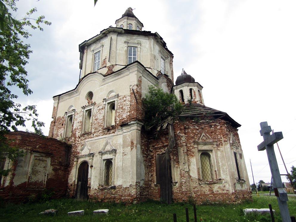 Вознесенский храм в Коптелово и Поклонный крест, посвященный священномученику Николаю Удинцеву