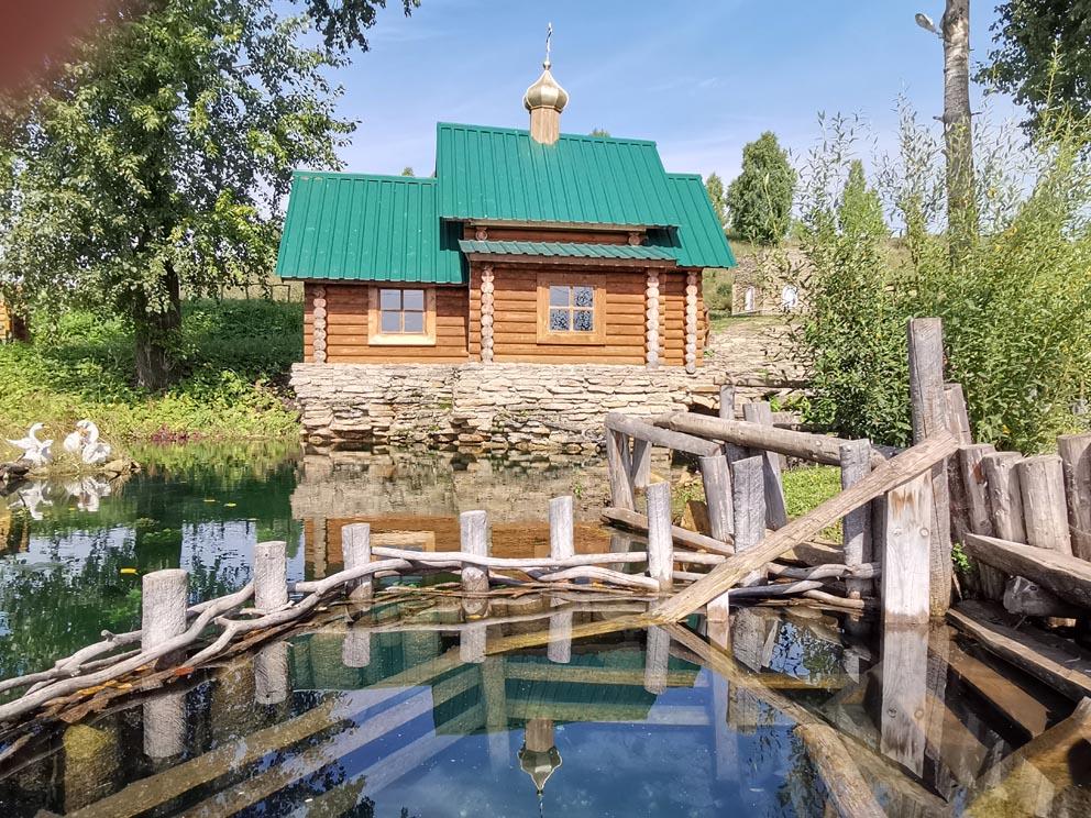 Открытая купель у святого монастырского источника